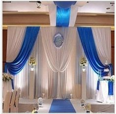 high long white and royal blue wedding stage party backdrop decoration drapes with ice silk Royal Blue Wedding Decorations, Royal Blue Centerpieces, Wedding Centerpieces, Satin Curtains, Blue Curtains, Diy Curtains, Party Kulissen, Wedding Reception Backdrop, Wedding Backdrops