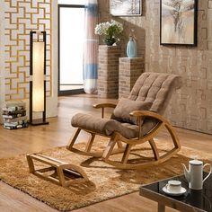 Modernes design schaukel sessel leder und holz f r for Schaukelstuhl modernes design