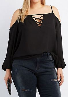 Plus Size Lattice Cold Shoulder Top (Boho Top Plus Size) Curvy Outfits, Casual Outfits, Fashion Outfits, Curvy Girl Fashion, Plus Size Fashion, Plus Size Dresses, Plus Size Outfits, Plus Size Going Out Outfits, Charlotte Russe Plus Size
