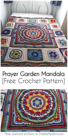 Prayer Garden Mandala [Free Crochet Pattern] Irresistible Crochet a Doll Ideas. Radiant Crochet a Doll Ideas. Motif Mandala Crochet, Mandala Blanket, Crochet Motifs, Granny Square Crochet Pattern, Crochet Squares, Free Crochet, Mandala Throw, Crochet Granny, Crochet Afghans