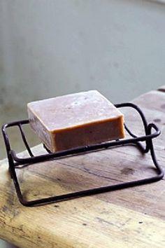 Vintage Metal Soap Dish - rust