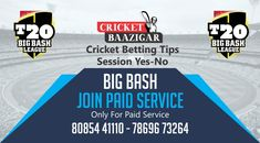 Cricket Baazigar Provide Match Prediction and Cricket Betting Tips Big Bash League 2018-19, 59 T20 Match.  #cricket #news #betting #Tips #prediction