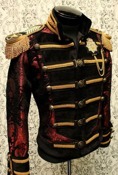 DOMINION JACKET - RED AND GOLD ON BLACK