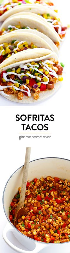 Chipotle Sofritas (Tofu) Tacos are quick and easy to prepare, and made with a heavenly Mexican chipotle tomato sauce. Plus, they're also naturally gluten-free and vegan! Tofu Tacos, Vegan Tacos, Mexican Food Recipes, Whole Food Recipes, Vegetarian Recipes, Cooking Recipes, Vegetarian Mexican, Vegetarian Dinners, Tofu Recipes