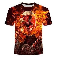Skull On Fire T-Shirt | Skullflow Skull Shirts, Skull Print, Gothic Outfits, Shirt Style, Men Casual, Mens Tops, T Shirt, Costume Collection, Daily Activities