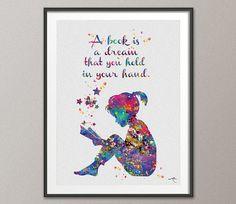 Reader Girl Watercolor Print Book Lover Gift Wall Art Teen