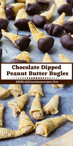 Chocolate Dipped Peanut Butter Bugles - Food And Drinks Köstliche Desserts, Sweets Recipes, Candy Recipes, Cookie Recipes, Snack Recipes, Jello Deserts, Yummy Snacks, Yummy Treats, Delicious Desserts