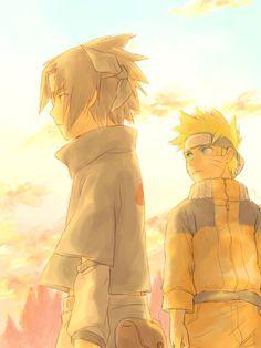 Uchiha Sasuke and Uzumaki Naruto (love the colours of this picture)