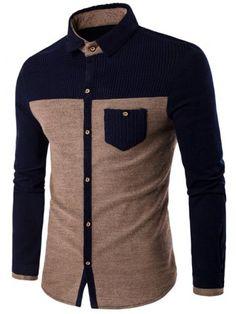 Corduroy Panel Two Tone Pocket Shirt African Dresses Men, African Clothing For Men, African Shirts, African Men Fashion, African Wear, Mens Fashion, Cheap Fashion, Formal Shirts, Casual Shirts