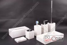 7pieces/set white marble bathroom accessories info@massage-stone.com Stone Tumbler, Design Your Own Bathroom, Marble Bathroom Accessories, White Marble Bathrooms, Toilet Brush, Bathroom Sets, Soap Dispenser, Massage, Catalog