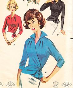 Vintage 50s wrap blouse pattern  Butterick 2149  by glassoffashion, $39.99