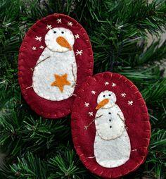 Folk Art Snowmen Ornaments - Kruenpeeper Creek Country Gifts