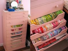 I love how the drawers have peekaboo fronts...