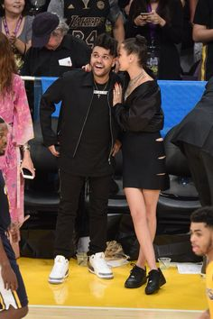 """Abel Tesfaye """"The Weeknd"""" and Bella Hadid attend Kobe Bryant's last game for Los Angeles Lakers at the Staple Center April 13, 2016"""