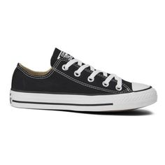 Converse Unisex Chuck Taylor All Star OX Canvas Trainers - Black (£45) ❤ liked on Polyvore featuring shoes, sneakers, converse, zapatos, black, cap toe shoes, black low top sneakers, low profile sneakers, black canvas sneakers and black shoes