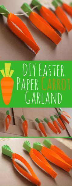 Easy DIY Easter Paper Carrot Garland- This DIY Carrot Paper Garland is a cute Easter Mantel decoration.