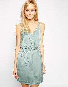 c4bf2af4d52d Vero Moda Wrap Front Sleeveless Dress - Chinoise green