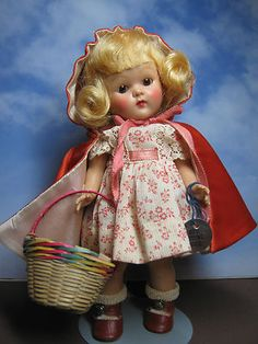 """Vintage Vogue Ginny Doll 1952 Red Riding Hood """"Frolicking Fables"""" w/Name Tag & Basket"""