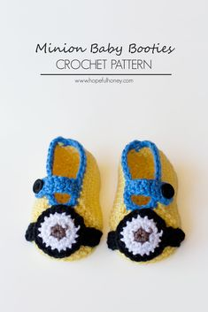 Minion Inspired Baby Booties By Olivia Kent - Free Crochet Pattern - (hopefulhoney)