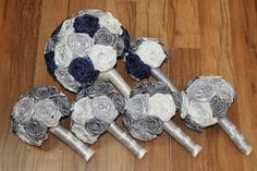 SALE Navy Blue Silver Grey & Ivory Bouquet Set Navy by HeyBouquet