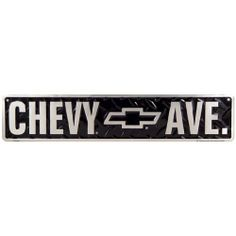 Chevrolet Chevy Ave Street Tin Sign by Poster Revolution. $12.83. measures 5.00 by 24.00 inches. tin signs are new and may have a vintage or distressed appearance. professional quality metal / tin sign. enameled paint is attractive and very durable. ships quickly and safely in a protective envelope. Chevrolet Chevy Ave Street Tin Sign