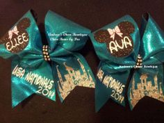 Teal Nationals Cheer Bow Minnie Mouse USA Nationals Cheer Bow
