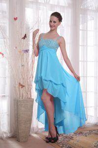 High-low Chiffon Beaded Baby Blue Empire Cocktail Dress for Prom with Straps