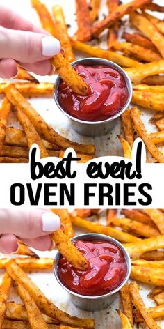EASY OVEN FRIES Easy Oven Fries Recipe – perfectly seasoned french fries, baked in the oven, crispy on the outside, soft on the inside. Oven Baked French Fries, Best French Fries, Crispy French Fries, Homemade French Fries, Homemade Fries In Oven, Seasoned French Fries Recipe, Homemade Potato Wedges, Healthy French Fries, Perfect French Fries