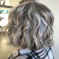 Choppy Wavy Bob for Graying Hair