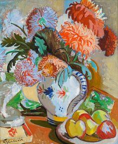 Isaac Grünewald (Sweden 1889-1946)Stilleben med blommor och frukter - Still life with Flowers and Fruits on the Table (n.d.) oil on panel 57.3 x 60 cm