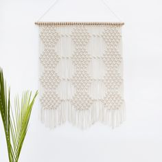 Large Hexagon Honeycomb Macrame Wall Hanging by LEKKER PROJECT