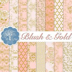 16 pages in Shades of Blush and Gold Digital Scrapbook Paper Pack. Blush, Wedding Bride Bridal Shower Invitations Digital Backgrounds-INSTANT DOWNLOAD $3.50