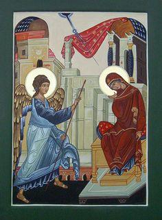 Annunciation by Liesbeth Smulders Religious Icons, Religious Art, Byzantine Icons, House Illustration, Orthodox Christianity, Freemason, Pope Francis, Ikon, Worship