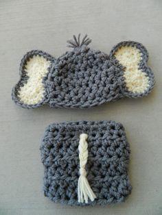 Handmade, crochet newborn Elephant hat, Boy Elephant hat, Elephant outfit, Photo prop