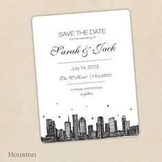 Houston SAVE THE DATE by PixieChicago on Etsy, $5.00