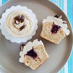 Filled with jam and topped with a peanut butter icing this Peanut Butter And Jelly Cupcakes Recipe makes cupcakes that are a real American style treat.