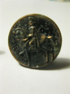 Vintage Pair Copper Cuff Link Style Picture Buttons Horse Knight Patina Metal