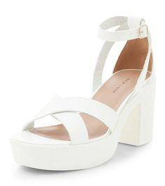 White Leather-Look Chunky Platform Heels   New Look