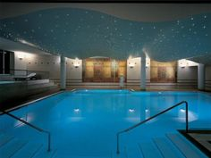 The CBE Spa and Well-being Centre's fresh indoor pool at the Lausanne Palace. Indoor Pools, Indoor Swimming, Swimming Pools, Lausanne Palace, Luxury Spa Hotels, Switzerland Hotels, Star Ceiling, Hotel Spa, Cool Rooms