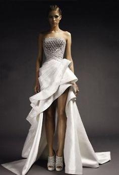 assymetric wedding dress