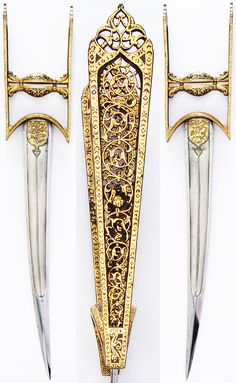 """Indian katar, 18th century. Wootz blade. 18 7/8 in. long. 16.2 oz. The inscriptions at the base of each side of the blade read: """"Help from Allah and a speedy victory. So give the glad tidings to the believers"""" (Koran 61:13). Met Museum."""