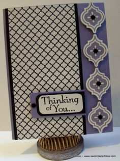 Thinking of You Stampin' Up! Card Love the idea ... Good for pl title cards... Imitate with sol?