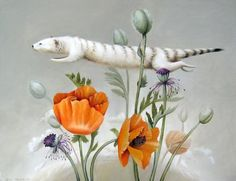 Jean Bradbury. Flying Weasel with Poppies. 2009 (oil on panel)