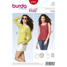 Burda 6923 Women's Top  8 - 20