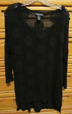 For sale in our Ebay store - click on the photo for full details.  White House Black Market Medium Black Sheer Fishnet Tunic Longtail Top Stretchy #WhiteHouseBlackMarket #Tunic #top #fashion #sheer #black #fishnet