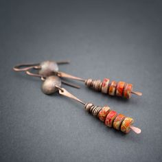 Rustic Copper Earrings • Jasper • Tribal jewelry • Orange • Organic • Hand Hammered • Artisan • Hand Made • Elongated Earrings • Ethnic by entre2et7 on Etsy