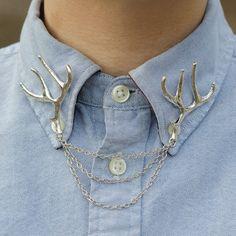 Antique Silver Deer Antler Collar Clip Chain