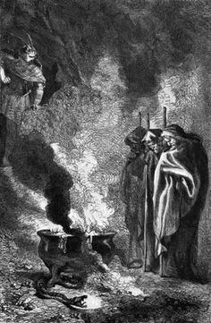 This shows the apparitions the witches conjure for Macbeth so he can know who kills him.