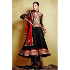 BLACK IS ALWAYS FAVOURITE COLOUR IN SALWAR KAMEEZ WITH LADIES. THIS BLACK ELEGANT SEMISTITCHED GEORGETTE ANARKALI SUIT CAN BE STITCHED UP TO 44 SIZE.
