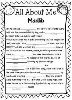 This fun and hilarious madlib engages the students' imagination as they create a fictional story, while sharing fun details about themselves. This is a great get to know you worksheet for the first week of school! Learning Activities, Kids Learning, Camping Activities, Beginning Of School, First Day Of School, Mad Libs For Adults, Funny Mad Libs, Free Mad Libs, Home Schooling